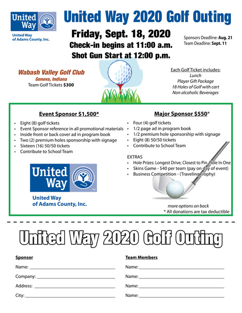 United Way Golf Outing Flyer 2019 2 of 2 (1)